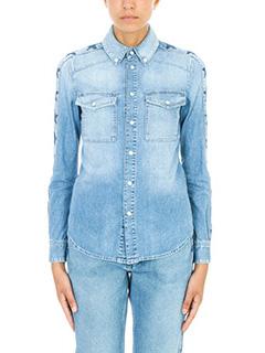 Givenchy-Star print denim shirt