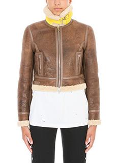 Givenchy-Montone corto in shearling e pelle cioccolato