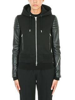 Givenchy-Giacca in pelle e tessuto nero