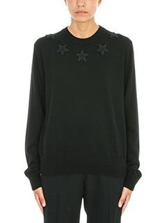 Givenchy-Maglia Star Appliqu� in lana nera