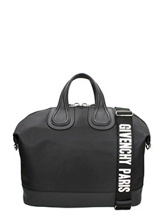 Givenchy-Borsa Nightingale T-handle in tessuto con riporti pelle nera