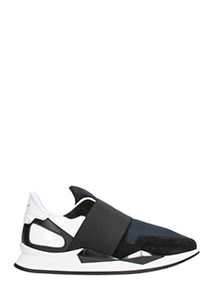 Givenchy-Sneakers Active Runner in suede e pelle nera bianca