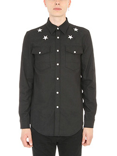 Givenchy-Camicia Star embroidered in denim nero