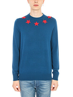 Givenchy-Maglia Star Appliqu� in lana blue
