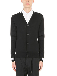 Givenchy-Cardigan Contrast Panel in lana nera