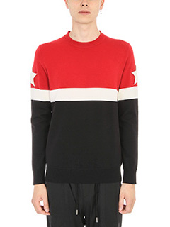 Givenchy-Maglia Star Patch in lana rossa nera bianca