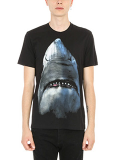 Givenchy-T-Shirt Shark Print in cotone nero
