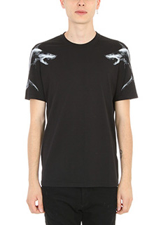 Givenchy-T-Shirt Shark Print in cotone nero