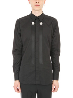 Givenchy-Camicia Button Panel in cotone nero