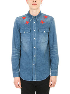 Givenchy-Camicia Star embroidered in denim blu