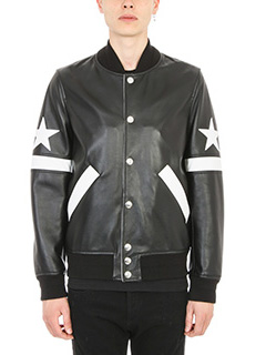 Givenchy-Bomber Star and stripe in pelle nera