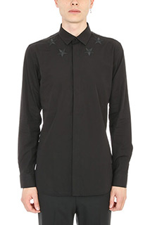 Givenchy-Camicia Star Embroidered in cotone nero