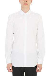 Givenchy-Camicia Star Embroidered in cotone bianco