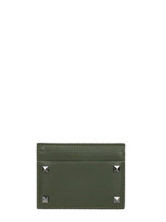 Valentino-green leather card