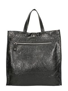 Valentino-black hammered leather bag
