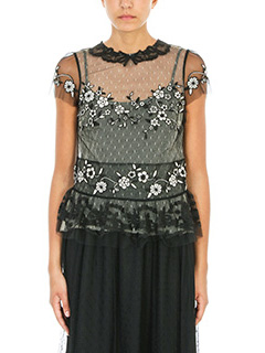 Red Valentino-Top in tulle e pizzo nero ed avorio