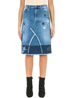 Red Valentino-Star Patch blue denim skirt