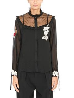 Red Valentino-lace insert shirt