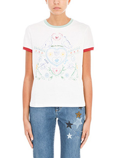 Red Valentino-T-shirt Stampa in cotone bianco