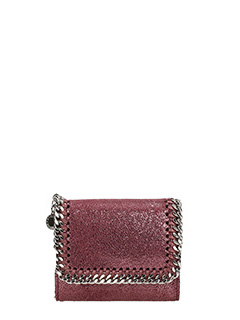 Stella McCartney-Portafoglio Falabella Mini Wallet in shaggy deer indian rosso