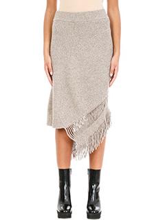 Stella McCartney-Gonna Asimmetrica in lana e cashmere beige