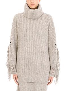 Stella McCartney-Maglia Large Volume in lana e cashmere beige