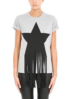 Stella McCartney-T-shirt Stella Star Fringe in cotone grigio