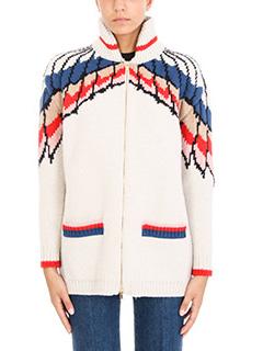 Stella McCartney-Cardigan Zip in lana crema rossa blue