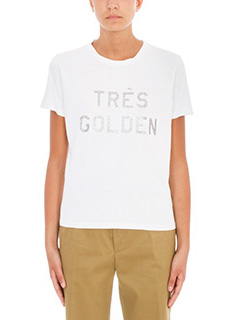 Golden Goose Deluxe Brand-T-Shirt Cindy Tres Golden in cotone bianco