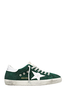 Golden Goose Deluxe Brand-Sneakers Superstar in pelle  verde foresta e bianca