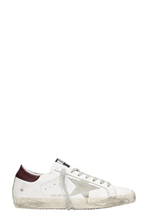Golden Goose Deluxe Brand-Sneakers Superstar in pelle bianca bordeaux