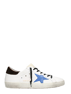 Golden Goose Deluxe Brand-Sneakers Superstar in pelle bianca bluette