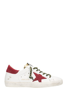 Golden Goose Deluxe Brand-Sneakers Superstar in pelle bianca oro