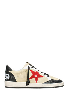 Golden Goose Deluxe Brand-Sneakers Ball Star in pelle crema rossa
