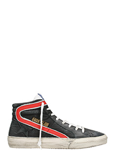 Golden Goose Deluxe Brand-Sneakers Slide in pelle e camoscio rosso bianco