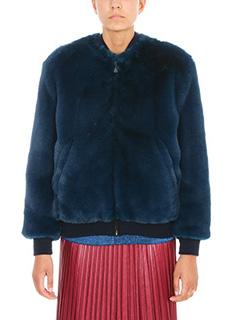 Golden Goose Deluxe Brand-Amanda Bomber blue Soft faux fur