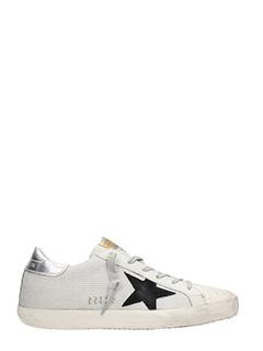 Golden Goose Deluxe Brand-Sneakers Superstar in pelle  corda bianca. logo