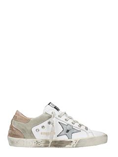 Golden Goose Deluxe Brand-Sneakers Superstar in pelle bianca argento