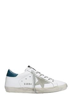Golden Goose Deluxe Brand-Sneakers Superstar in pelle bianca ottanio