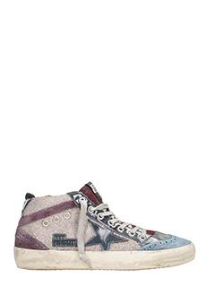 Golden Goose Deluxe Brand-Sneakers Mid Star in pelle e glitter multicolor argento