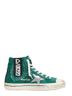 Golden Goose Deluxe Brand-Sneakers V-Star 1 in pelle verde leopard