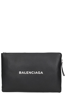 Balenciaga-Pochette Large Shopping Logo in pelle nera