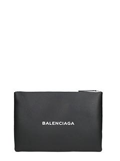 Balenciaga-Black Logo pouch L