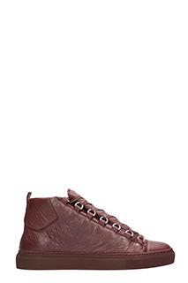 Balenciaga-Arena High leather burgundy sneakers