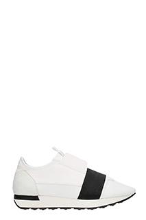 Balenciaga-Sneakers Race Runner in pelle e neoprene bianca nera