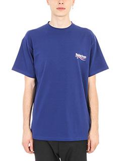 Balenciaga-Logo print cotton blue t-shirt