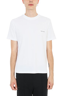 Balenciaga-T-Shirt Logo Print in jersey bianco