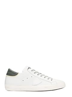 Philippe Model-Sneakers in pelle bianca e grigia