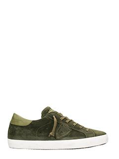 Philippe Model-Sneakers Paris in camoscio verde