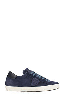 Philippe Model-Paris blue suede and leather sneakers